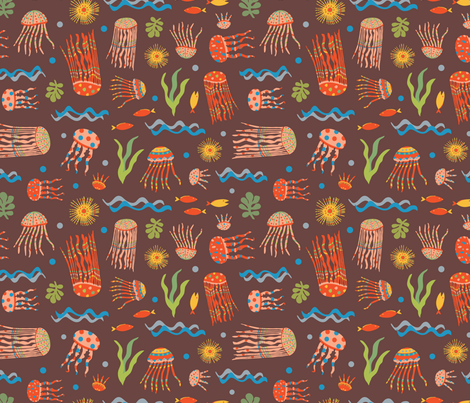 Jellyfish Circus on Brown fabric by gracedesign on Spoonflower - custom fabric