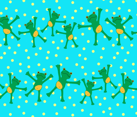 "Popeloning ""Frogs and Dots"" fabric by honey_gherkin on Spoonflower - custom fabric"