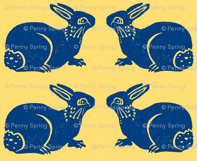 More Bunnies blue on yellow
