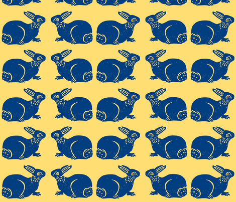 More Bunnies blue on yellow fabric by bad_penny on Spoonflower - custom fabric