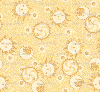 Mosaic Sun, Moon, and Gears -- Tiny version ©2012 by Jane Walker