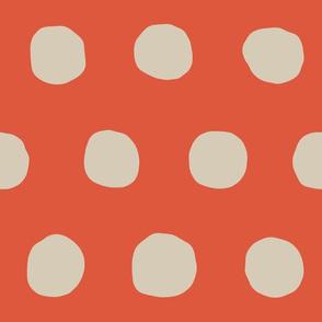 Jumbo Dots in tangerine/khaki