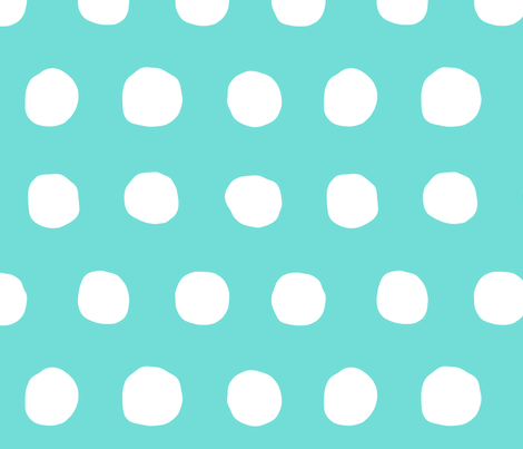 Jumbo Dots in aqua/white fabric by domesticate on Spoonflower - custom fabric