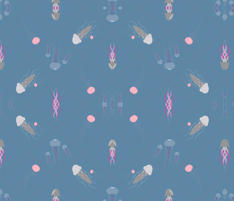 Pattern_jellyfish_final fabric by bforme11 on Spoonflower - custom fabric
