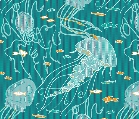 jelly(fish) labyrinth fabric by annosch on Spoonflower - custom fabric