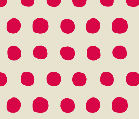 Jumbo Dots in rouge/natural fabric by domesticate on Spoonflower - custom fabric