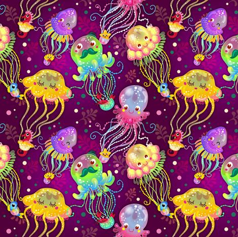 Jellyfish Balloon Parade | Rainbow fabric by irrimiri on Spoonflower - custom fabric