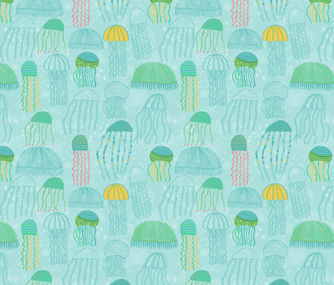 floating jellyfish fabric by jeannemcgee on Spoonflower - custom fabric