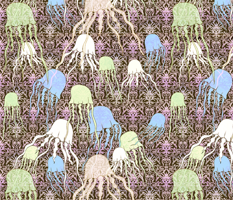 jetset jellyfish fabric by lucybaribeau on Spoonflower - custom fabric