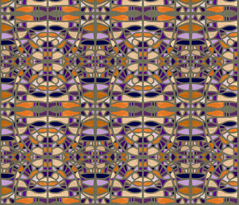 Gaudy Gaudi oranges and purples vertical fabric by su_g on Spoonflower - custom fabric