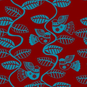 oiseau feuille turquoise fond rouge M