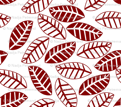 feuille rouge fond blanc M