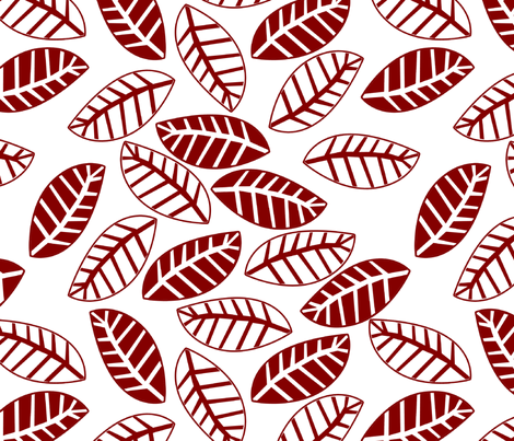 feuille rouge fond blanc M fabric by nadja_petremand on Spoonflower - custom fabric