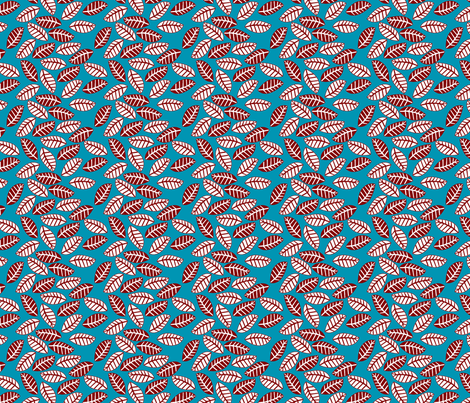 feuille rouge fond turquoise S fabric by nadja_petremand on Spoonflower - custom fabric