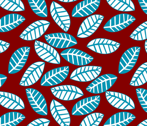 feuille turquoise fond rouge M fabric by nadja_petremand on Spoonflower - custom fabric