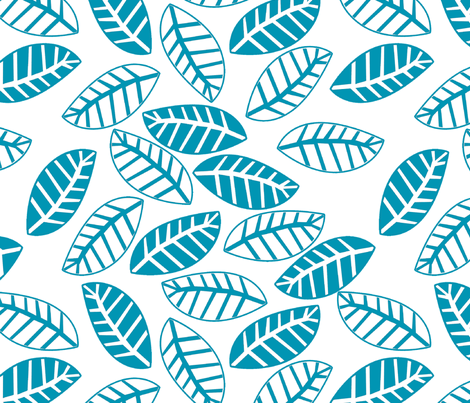 feuilleturquoise fond blanc M fabric by nadja_petremand on Spoonflower - custom fabric