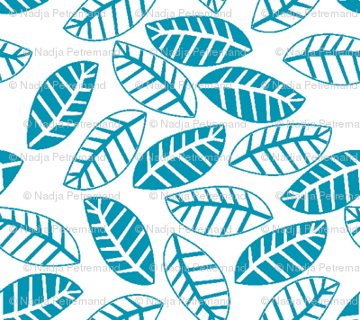 feuille turquoise fond blanc S