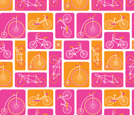 Pink Bicycle Love by ebygomm fabric by upcyclepatch on Spoonflower - custom fabric