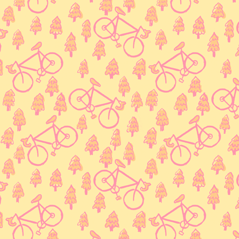 peach bikes fabric by 1stpancake on Spoonflower - custom fabric