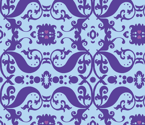 Damask in blue and purple fabric by nb_design on Spoonflower - custom fabric
