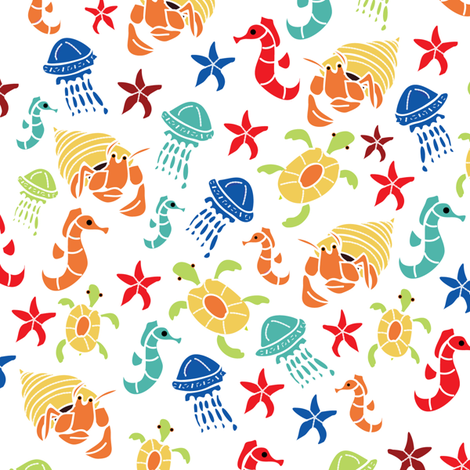 Bigger Sea Creatures fabric by upcyclepatch on Spoonflower - custom fabric
