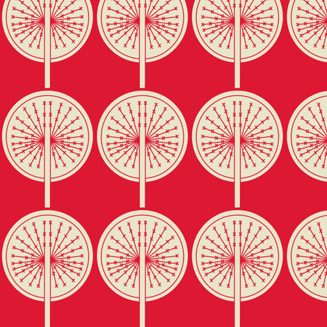 Dandelion on red fabric by sary on Spoonflower - custom fabric
