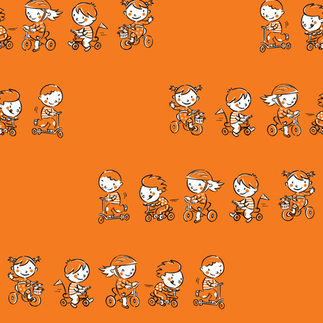Kids_race_-_orange fabric by alexandra_pillaert on Spoonflower - custom fabric
