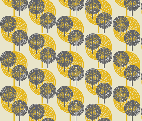 Marvelous Dandelion Grey And Yellow Fabric By Sary On Spoonflower   Custom Fabric
