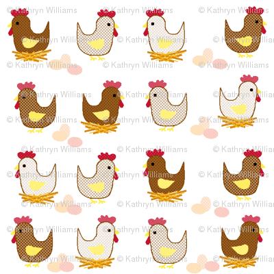 Brown hen , white hen.