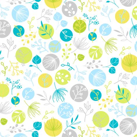 Mini Mod Leaf_blue fabric by wddesign on Spoonflower - custom fabric