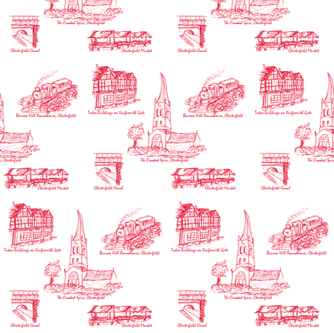 Red Toile of Chesterfield fabric by squeakyangel on Spoonflower - custom fabric