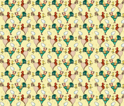 Chicken Ditzy fabric by amyelyse on Spoonflower - custom fabric