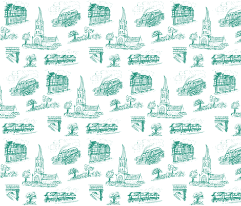 Chesterfield Toile in Green fabric by squeakyangel on Spoonflower - custom fabric