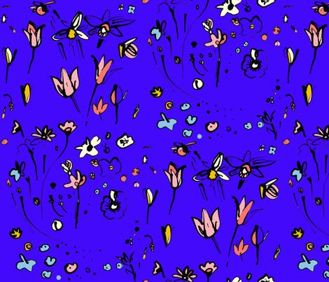 cestlavov_ladybug_modagarden_ultrablue fabric by cest_la_viv on Spoonflower - custom fabric