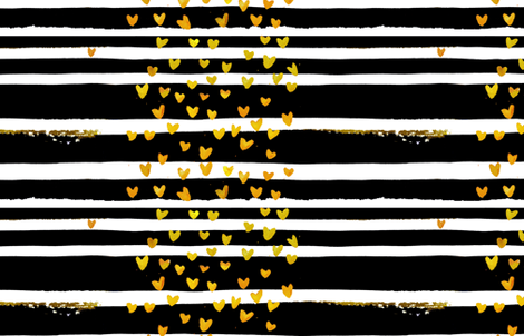 cestlaviv_Black Stripe Gold Hearts fabric by cest_la_viv on Spoonflower - custom fabric