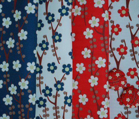 Umbrellievable fat quarters: cherry blossoms