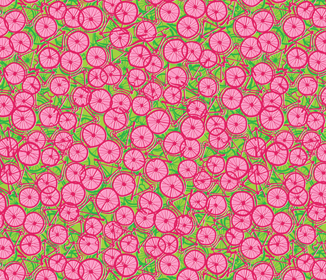 Summer Cycle red  fabric by spellstone on Spoonflower - custom fabric