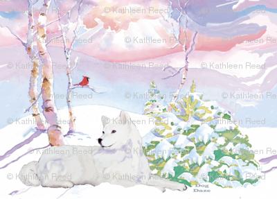 Samoyed  and  Cardinal Winter Scene
