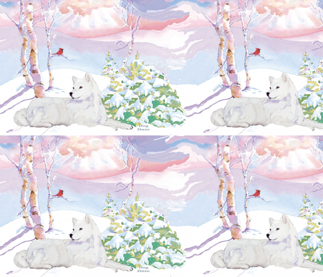 Samoyed  and  Cardinal Winter Scene fabric by dogdaze_ on Spoonflower - custom fabric