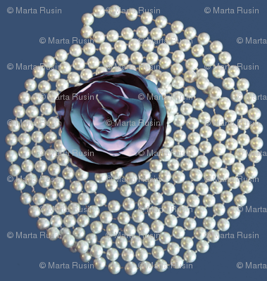 pearls and blue rose