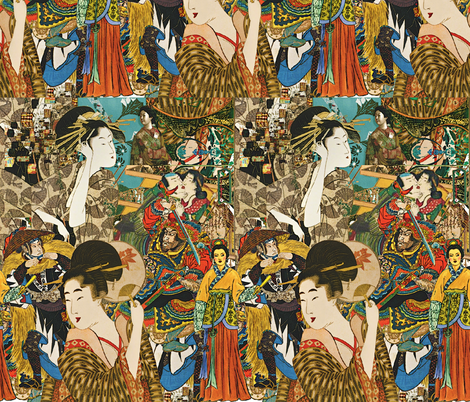 Vintage Asian Collage fabric by whimzwhirled on Spoonflower - custom fabric