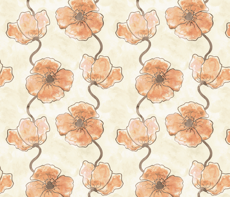 Painted Poppies fabric by hugandkiss on Spoonflower - custom fabric