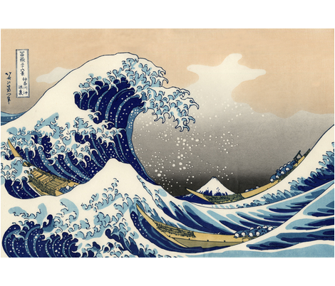 CENTERED Great Wave off Kanagawa 42w 29h fabric by buckskin_fringe on Spoonflower - custom fabric