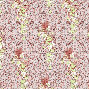 Cherubs with Sugar Cones Toile Red and Green