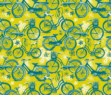 Green Flower Power  fabric by twobloom on Spoonflower - custom fabric
