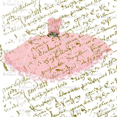Ooh La Lah pink dress on white French Script Dollhouse