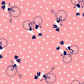 Kitties on Bicycles Dotty - Pink
