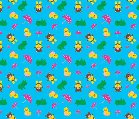 Rainy Day Animals fabric by wastedwings on Spoonflower - custom fabric