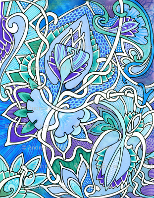 Twisted Floral Circles (blue/green/lavender)