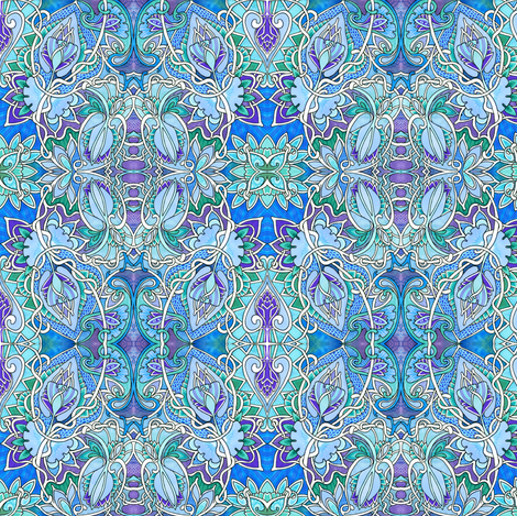 Twisted Floral Circles (blue/green/lavender) fabric by edsel2084 on Spoonflower - custom fabric